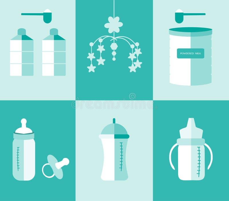 准备套婴孩的牛奶瓶和搽粉的牛奶,传染媒介例证 皇族释放例证