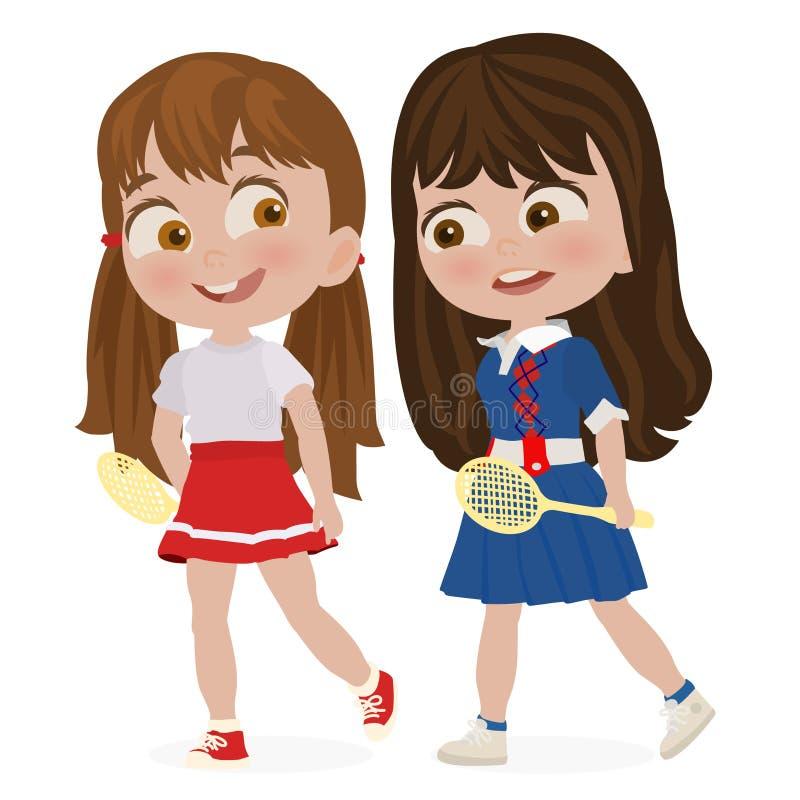 准备好两个的女孩参加网球比赛 库存例证