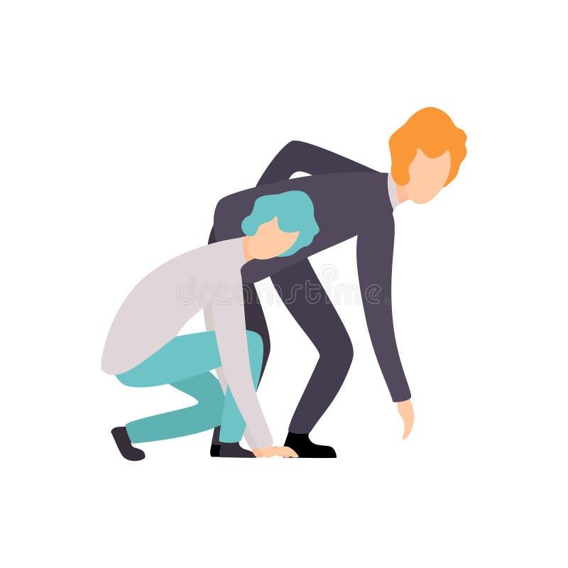 准备好在起动线的两个商人在种族,企业竞争,在同事之间的竞争,办公室面前 库存例证
