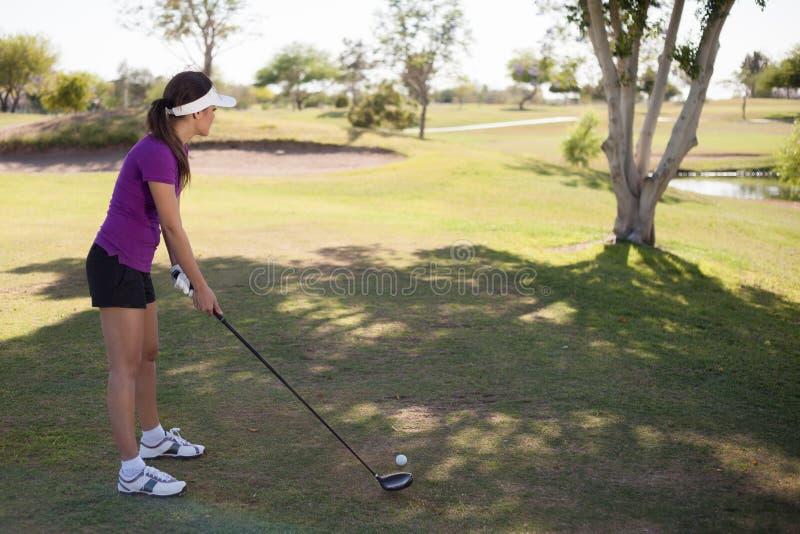 准备好女性的高尔夫球运动员摇摆 库存照片