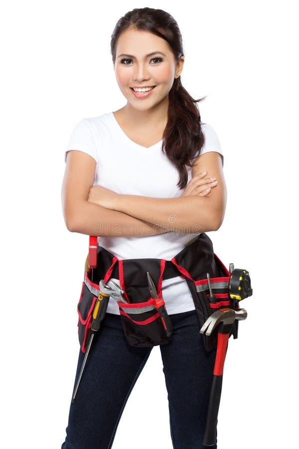 准备好女性的建筑工人工作 免版税库存照片