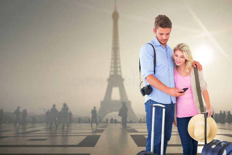 准备好有吸引力的年轻的夫妇的综合图象去休假 库存照片