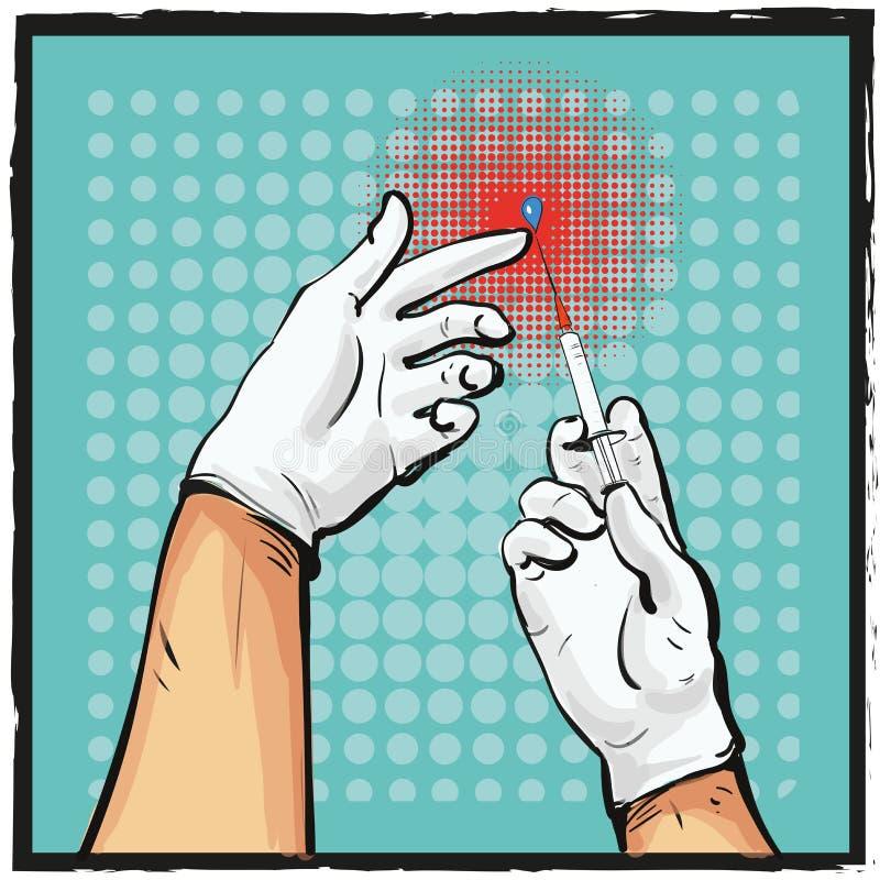 准备好流行艺术可笑的医生手新闻的注射器注射射击传染媒介例证 库存例证