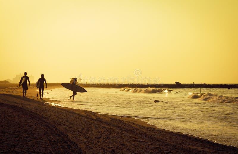 准备好的冲浪者在海滩早晨在rockaway 免版税库存照片