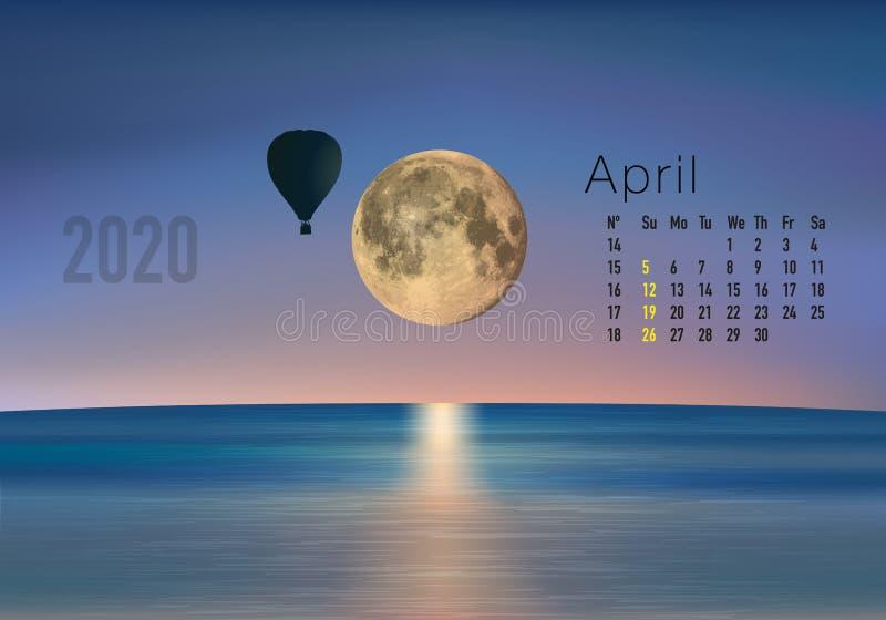 2020准备好的日历打印在美国版本,显示日落在气球overflighted的风景 向量例证