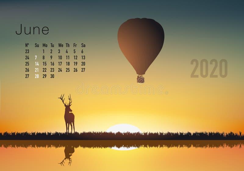 2020准备好的日历打印在美国版本,显示日落在气球overflighted的风景 皇族释放例证