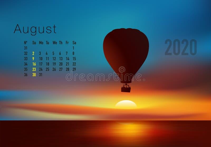 2020准备好的日历打印在美国版本,显示日落在气球overflighted的风景 库存例证