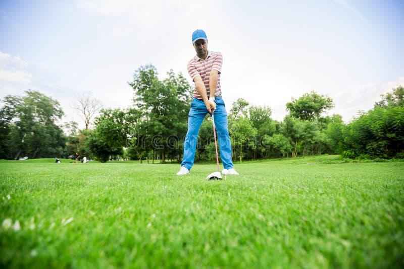 准备好的高尔夫球运动员采取射击 免版税库存图片