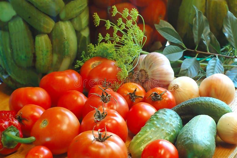 准备好盐溶对蔬菜 库存图片