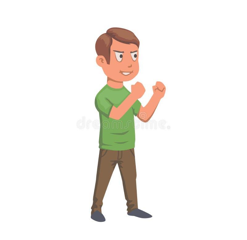 准备好绿色的T恤杉的男孩战斗,少年字符 平的传染媒介例证 背景查出的白色 向量例证