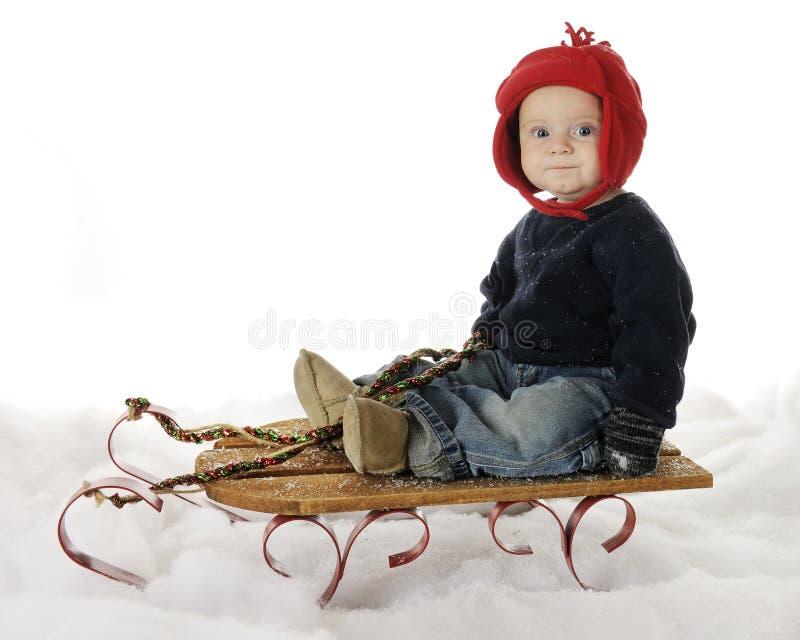准备好雪撬的乘驾 免版税图库摄影