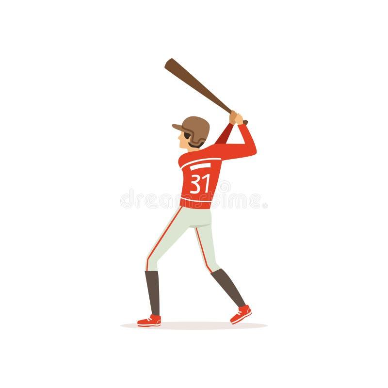 准备年轻的棒球运动员触击与棒 团体性运动比赛 有效的生活方式 动画片在制服的人字符 库存例证