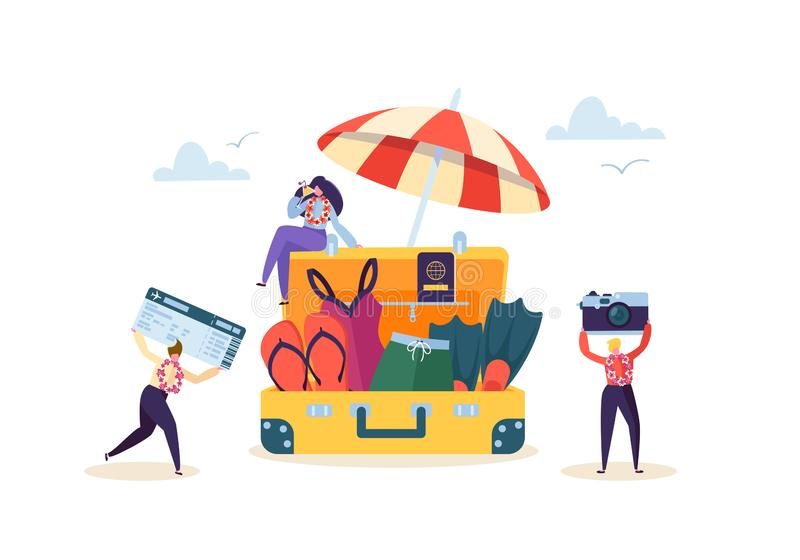 准备愉快的企业的字符使假期靠岸 热带手段的办公室工作者人与鸡尾酒 旅游业 皇族释放例证
