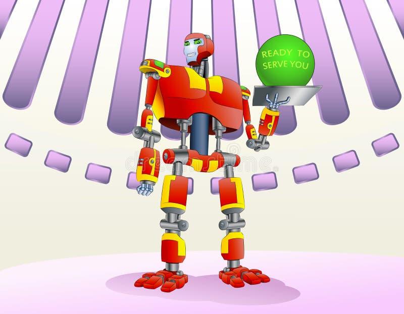 准备服务的机器人您 皇族释放例证