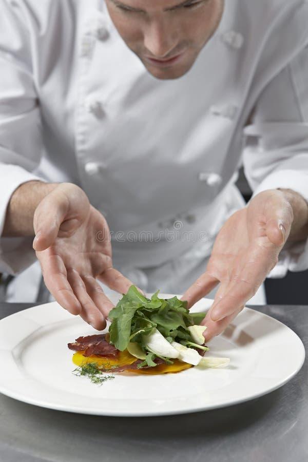 准备沙拉的男性厨师在厨房里 库存图片