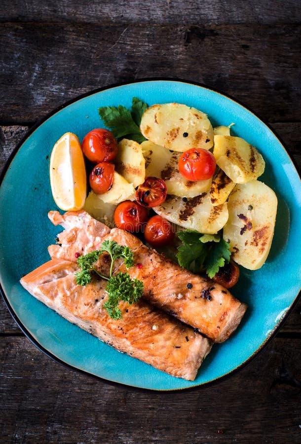 准备的三文鱼鱼 免版税图库摄影