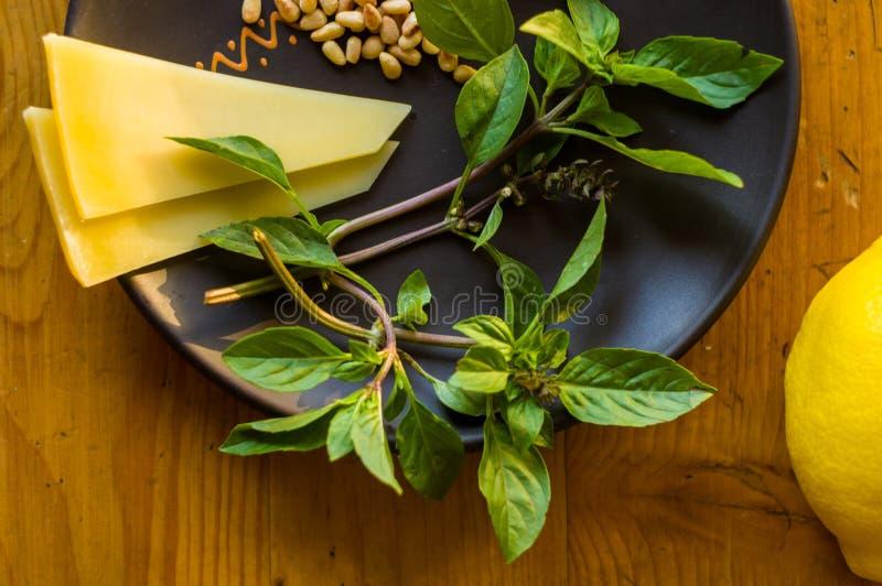 准备的意大利pesto调味汁新鲜的成份-柠檬蓬蒿小树枝,剥了松子,大拨蒜种子,希腊语 免版税库存图片