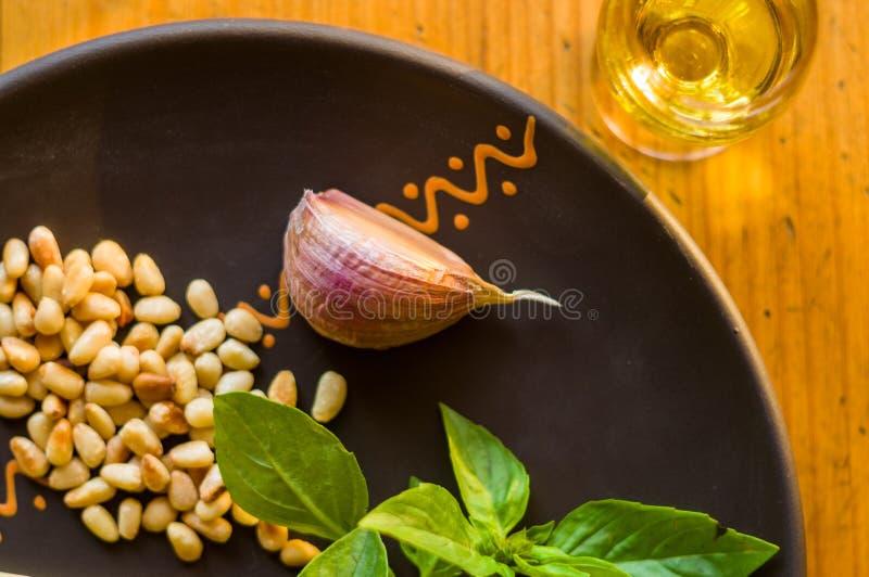 准备的意大利pesto调味汁新鲜的成份-柠檬蓬蒿小树枝,剥了松子,大拨蒜种子,希腊语 图库摄影