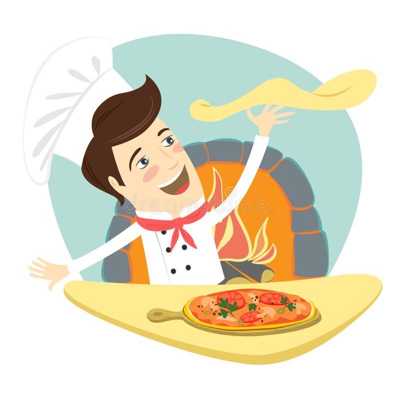准备薄饼盘的滑稽的厨师在厨房里 库存例证