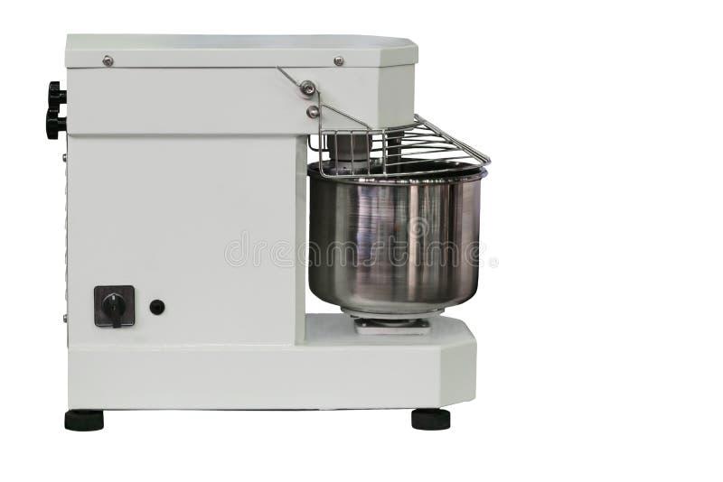 准备面团的现代紧凑机器,隔绝在白色背景 免版税库存照片