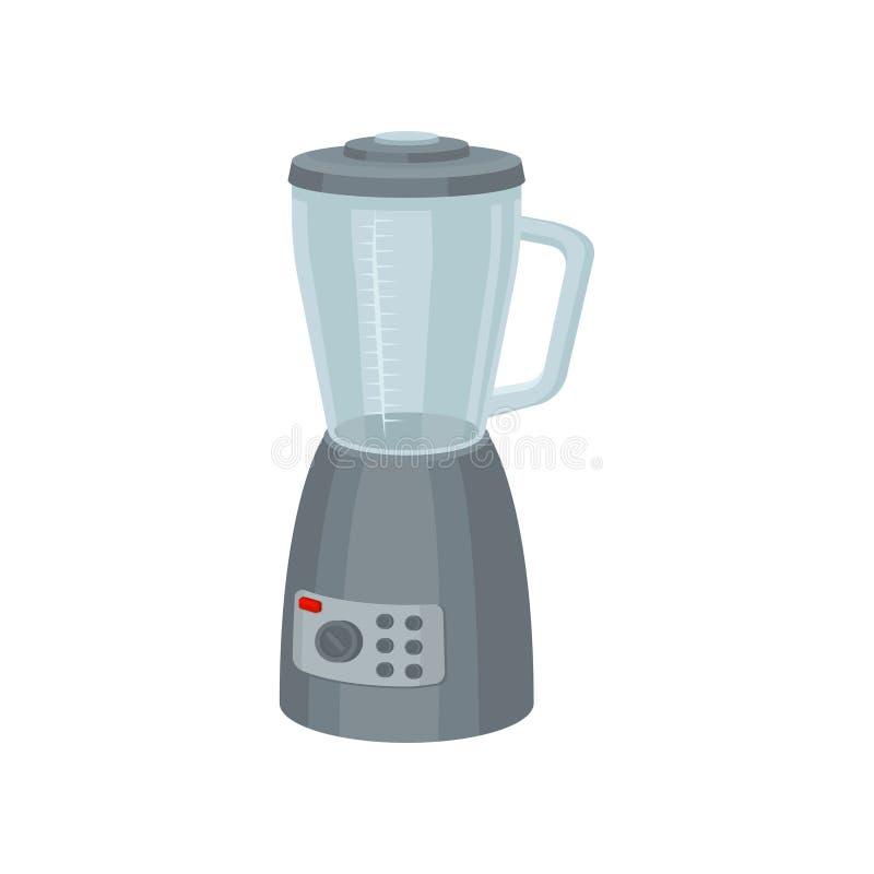 准备食物和圆滑的人的电搅拌器 现代工具的厨房 有玻璃容器的灰色搅拌器 库存例证
