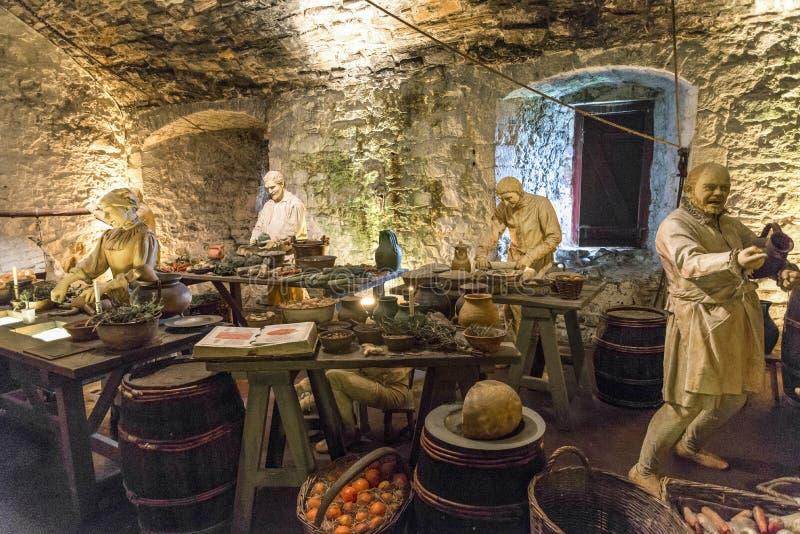 准备食物在伟大的厨房里,斯特灵城堡的厨房职员 免版税库存图片