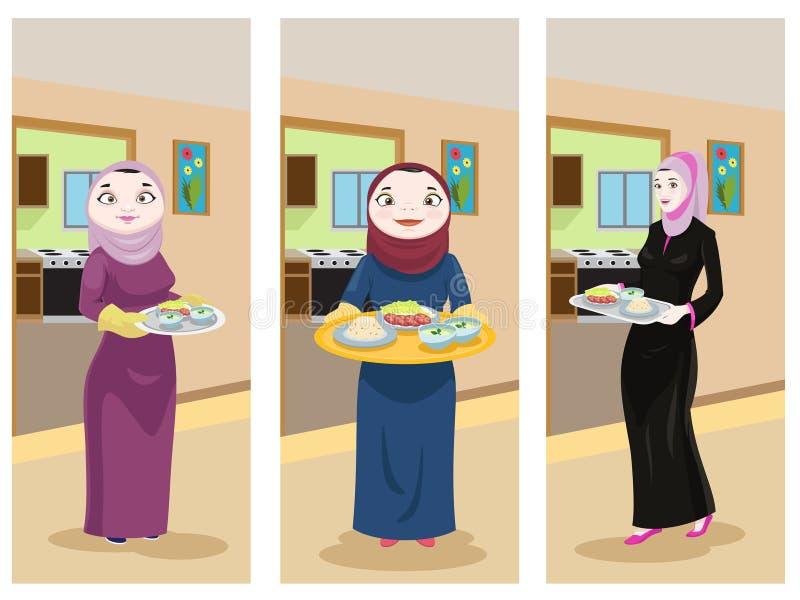 准备食物的阿拉伯夫人 皇族释放例证