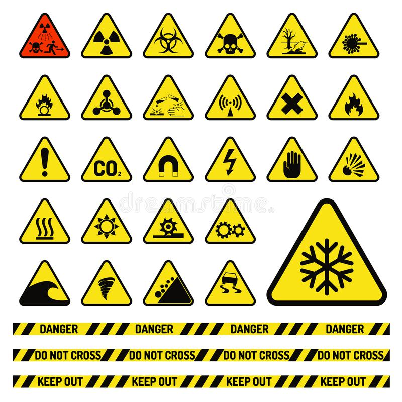 准许的禁止标志产业生产传染媒介警告危险标志禁止的安全信息保护没有 库存例证