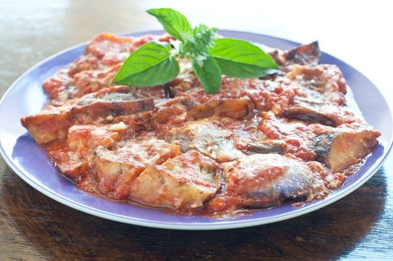 凉快和可口盘用烤茄子用西红柿酱 库存图片