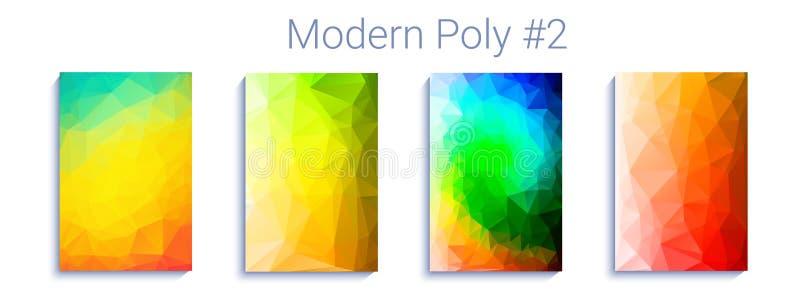 凉快的三角梯度背景 现代抽象几何样式 明亮的colorfull墙纸 向量 库存例证