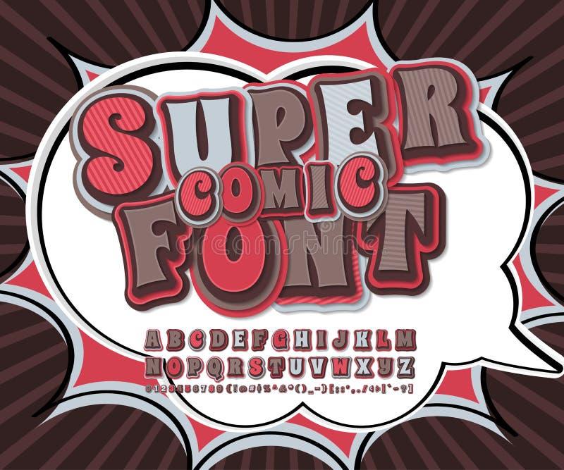 凉快的五颜六色的可笑的字体 在样式漫画的字母表,流行艺术 库存例证