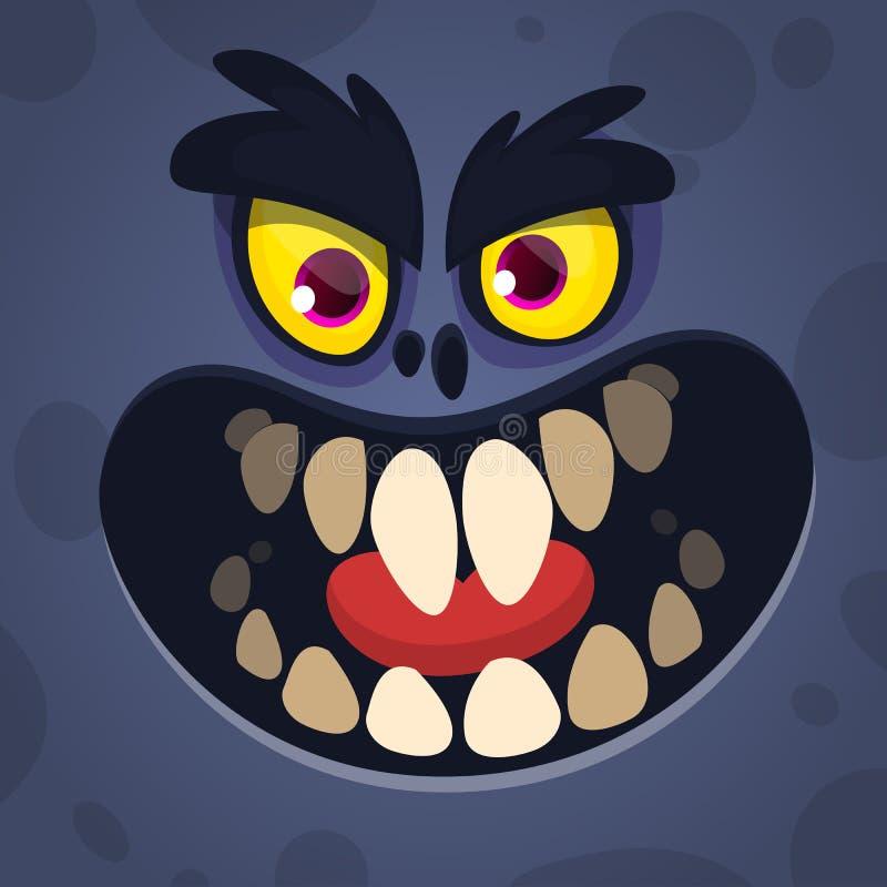 凉快的动画片可怕黑妖怪面孔 传染媒介疯狂的妖怪具体化的万圣夜例证 库存例证