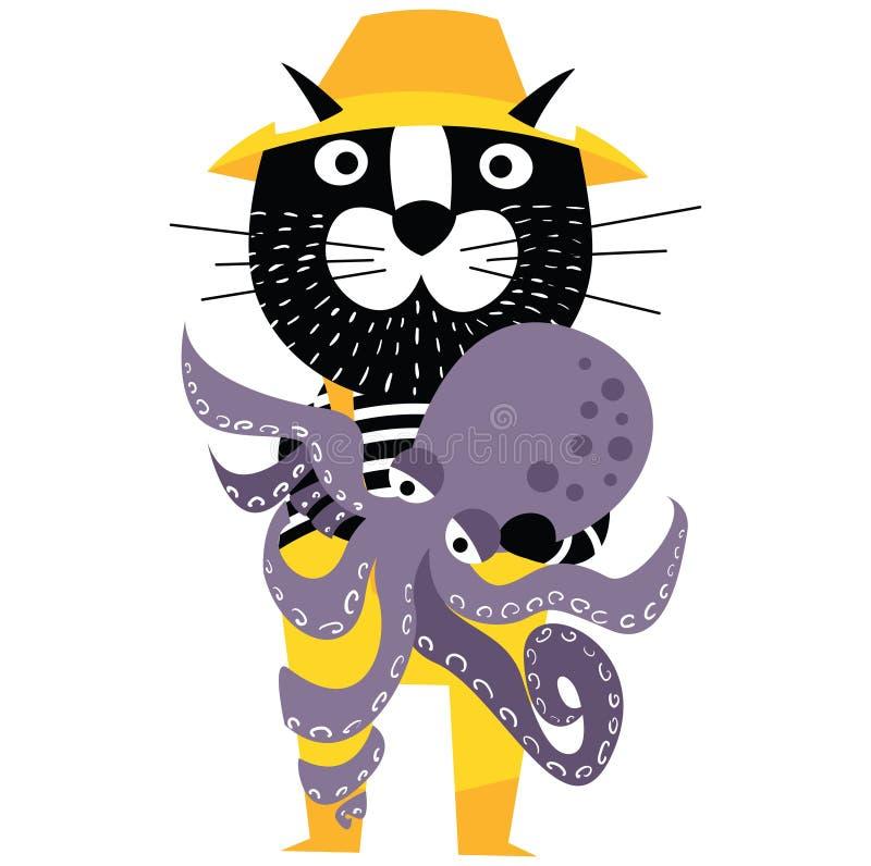 凉快的动画片猫喜欢拿着章鱼的渔夫 向量例证