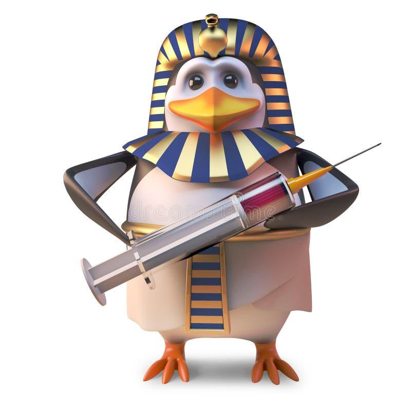 凉快的古老企鹅法老王企鹅拿着注射器,3d的Tutankhamun例证 皇族释放例证
