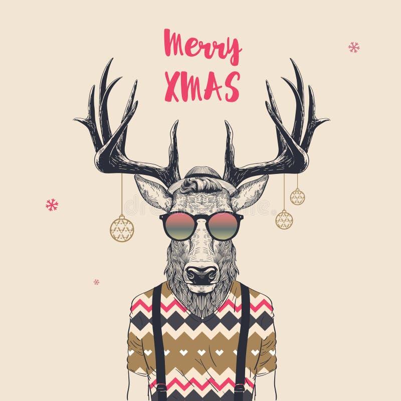 凉快的圣诞节鹿 库存例证