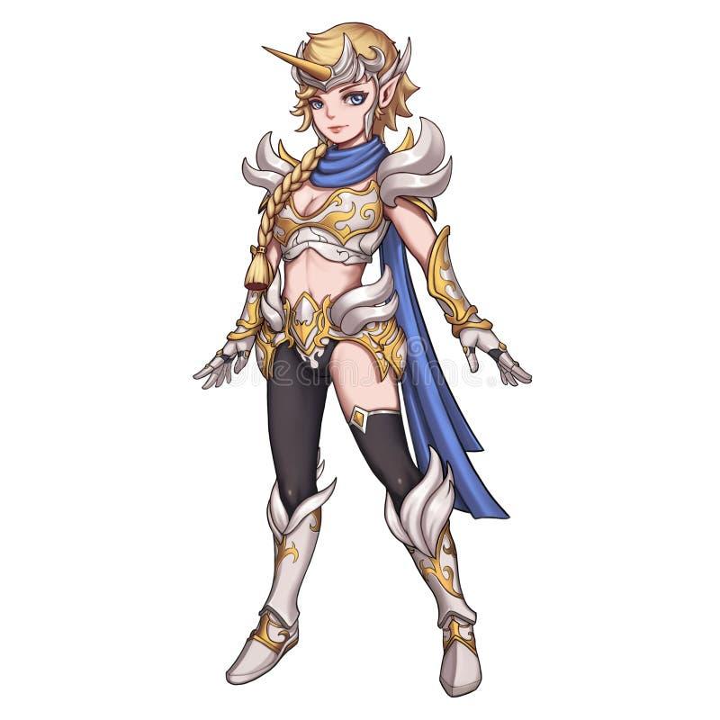 凉快的字符:在白色背景隔绝的独角兽女性战士 库存例证