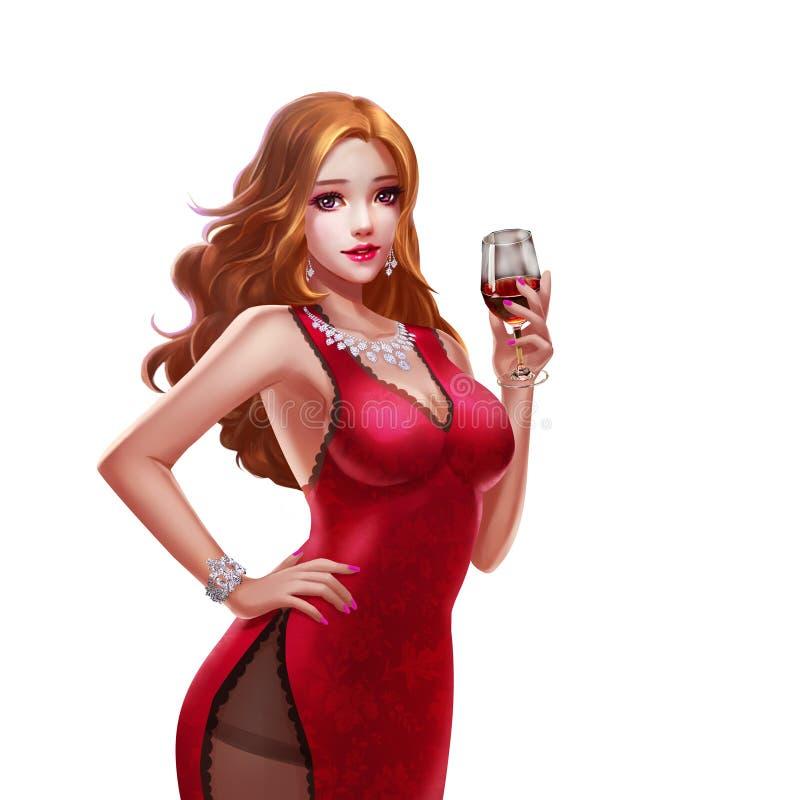 凉快的字符:美丽和豪华在白色背景隔绝的赌博娱乐场引诱的女孩 皇族释放例证