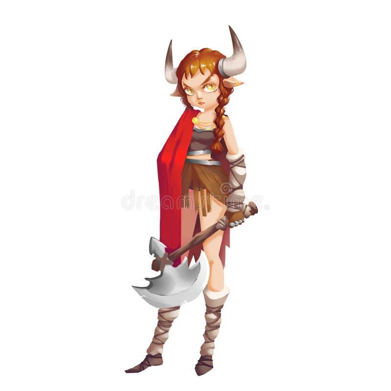 凉快的字符系列:在白色背景隔绝的野生野蛮北欧海盗女孩战士 库存例证