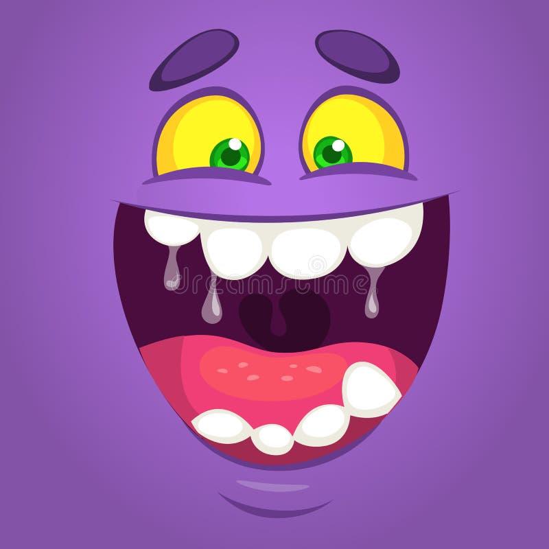 凉快的愉快的动画片妖怪面孔 传染媒介万圣夜紫色妖怪笑 库存例证