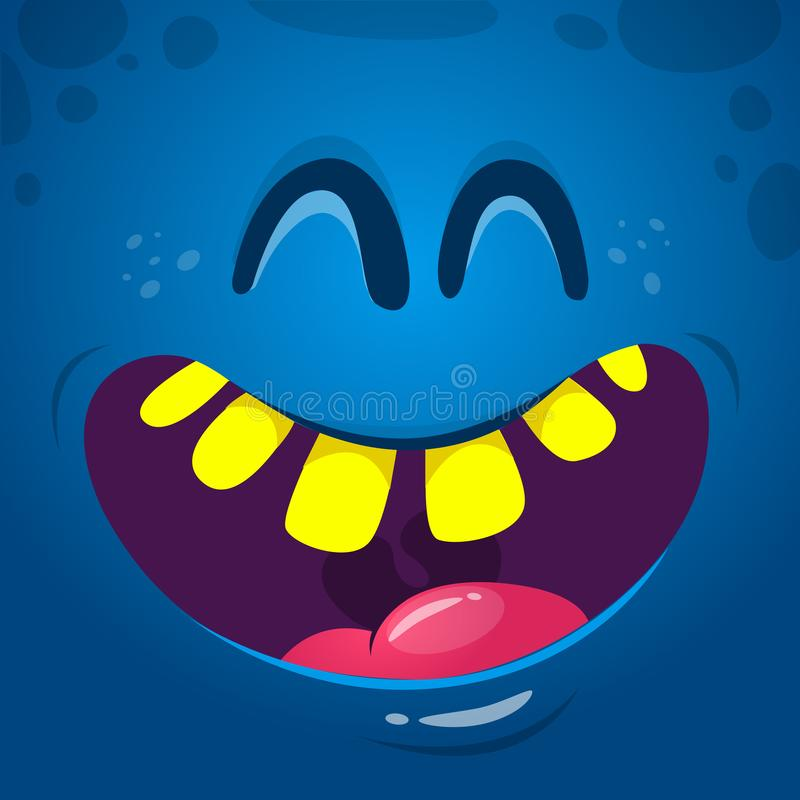 凉快的愉快的动画片妖怪面孔 传染媒介笑与宽嘴的万圣夜妖怪 向量例证