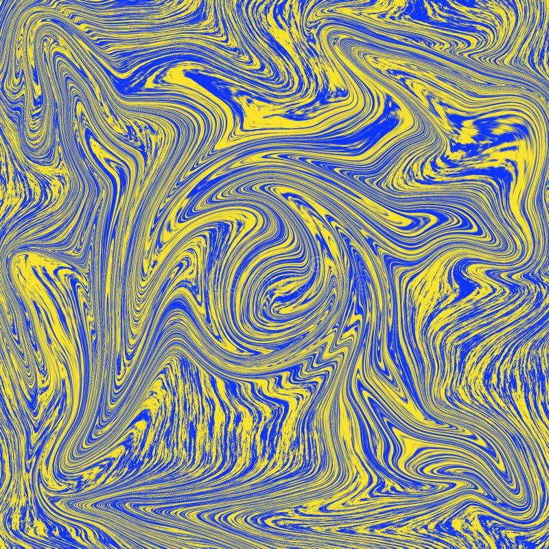 凉快的抽象液体纹理 组合的蓝色和黄色 向量例证