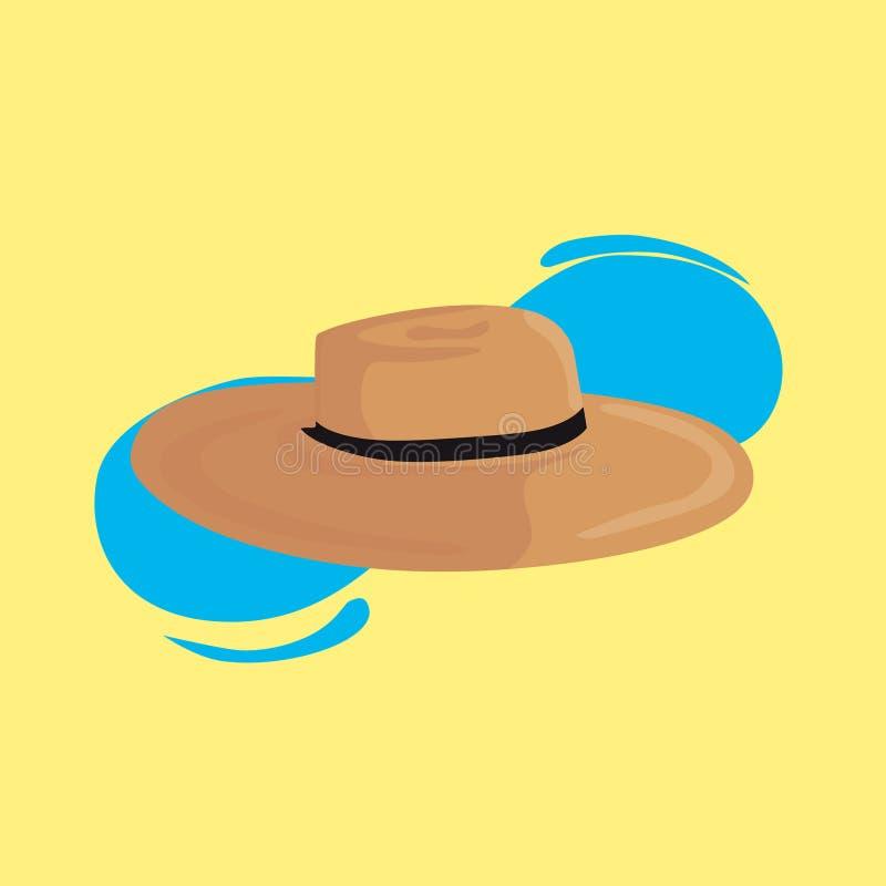 凉快的海滩帽子在黄色背景中 库存例证