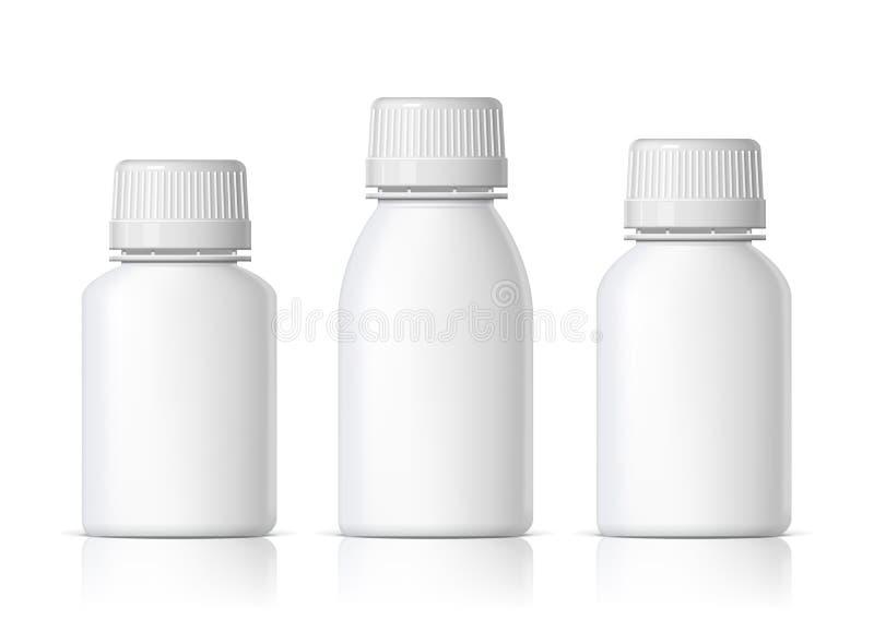 凉快的现实白色塑料瓶 产品包装化妆用品,医学 各种各样的流体传染媒介例证 皇族释放例证