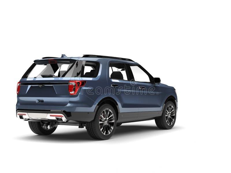 凉快的蓝色金属现代SUV车的后面视图 向量例证