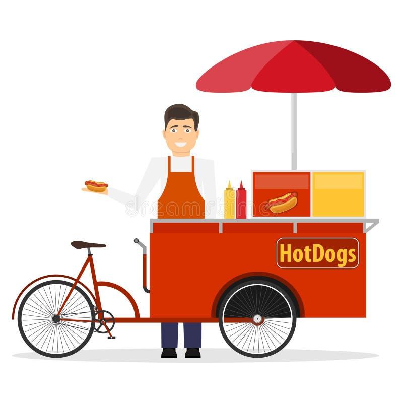 凉快的详细的传染媒介街道食物自行车推车创造性的例证 流动减速火箭的自行车与遮阳伞遮光罩的供给动力的热狗立场 库存例证