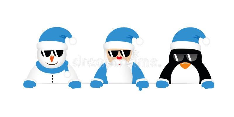 凉快的雪人圣诞老人和与太阳镜的企鹅动画片在蓝色c 皇族释放例证