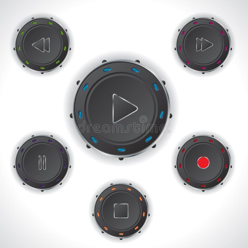 凉快的音频控制器按钮 向量例证