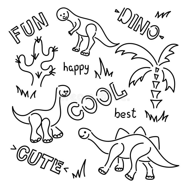 酷、有趣、可爱、快乐-手绘词 白色背景上分离的可爱载体恐龙 棕榈树,仙人掌 库存例证