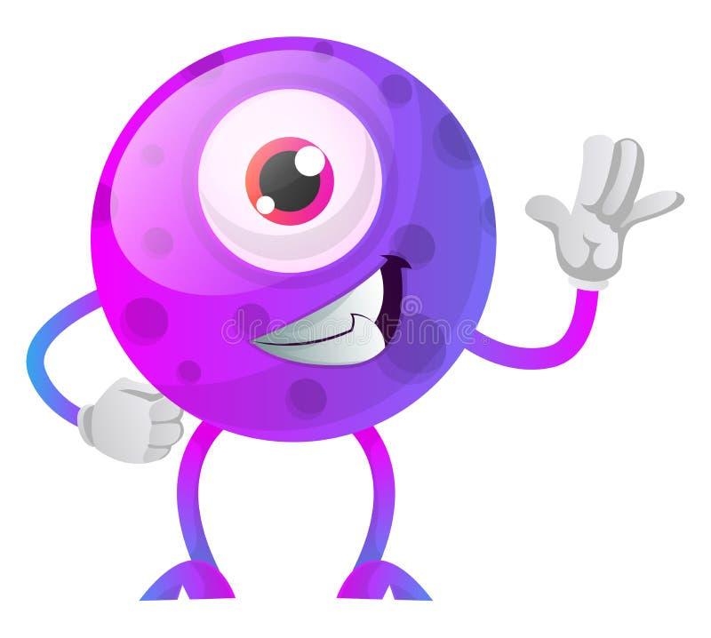 凉爽的单眼紫色怪物挥舞插图矢量 向量例证