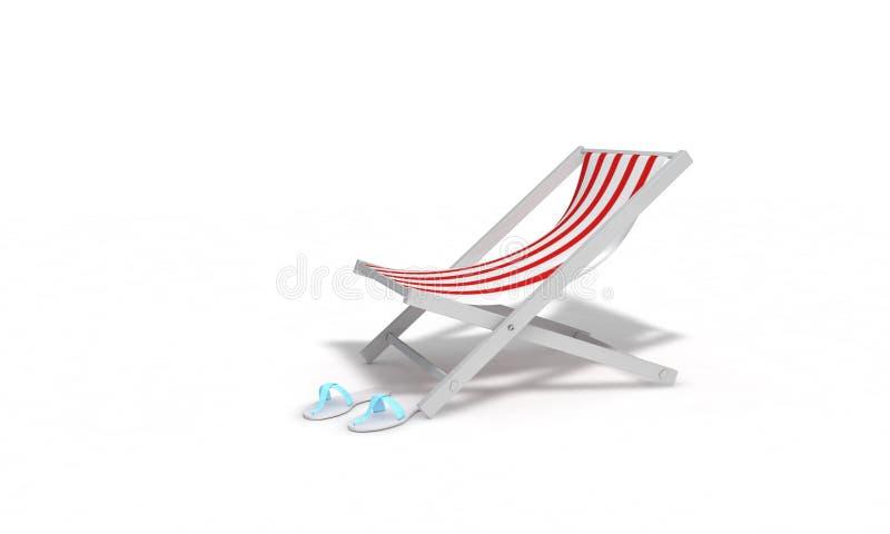凉鞋和sunbed海滩, 3d回报 库存例证